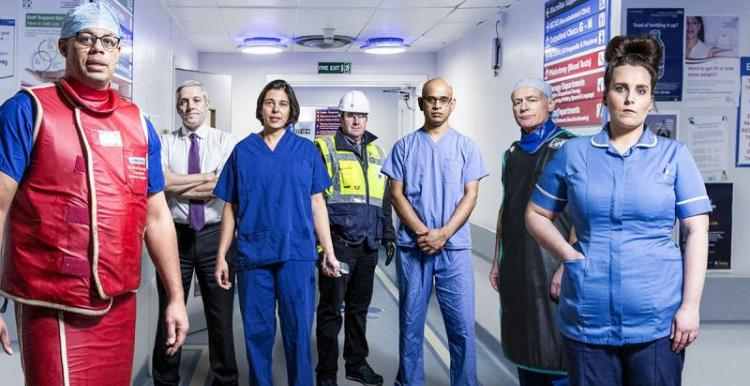 image of some of the staff featured in BBC Two documentary Hospital