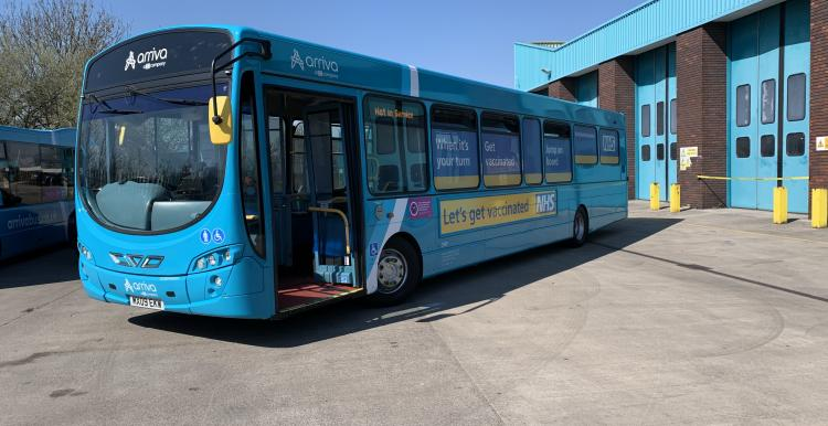 image of NHS Covid-19 Vaccination bus