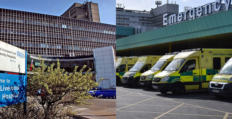 Split image showing The Royal Liverpool Hospital on the left and Aintree Hospital on the right