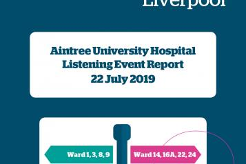 image of front page of Aintree Hospital Listening Event Report 2019