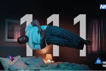 Image of man floating above bed taken from NHS 111 tv advert and text 'NHS 111 Help us Help you'