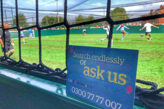 Healthwatch Liverpool at Liverpool Homeless Football event