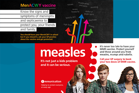 banner images promoting vaccinations for MMR and meningitis