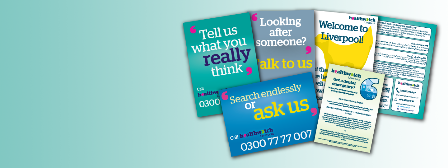 images of Healthwatch Liverpool leaflets