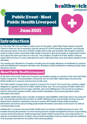 Public Event: Meet Public Health Liverpool. June 2021. The front page of the summary report