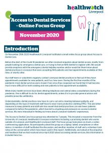 Front page of Dental focus group report