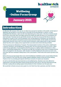 Front page of Wellbeing focus group report